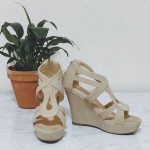 TOP MODA Nude Wedge Sandals US 7.5